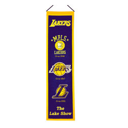 Winning Streak Pennants - Los Angeles Lakers NBA 8 x 32 Heritage Banner - Check out this Awesome wool Heritage banner. It features embroidery and appliqued graphics in official team colors. It's perfect for your Man Cave, Game Room, Office or anywhere else you want to show love for your team.