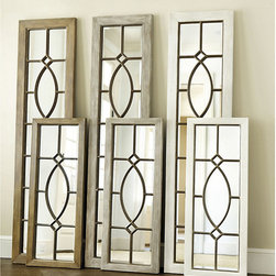 Ballard Designs - Garden District Leaner Mirror - Coordinates with our best-selling Garden District Wall Mirrors. Powerhook (sold separately) is recommended when hanging. The design of our Garden District Mirror was inspired by a beveled glass window we admired in the garden district of New Orleans. Rich finishes are achieved by hand applying layers of paint in a meticulous eight-step process. Lean or hang either way to create the illusion of a daylight window.Garden District Leaner Mirror features: . .