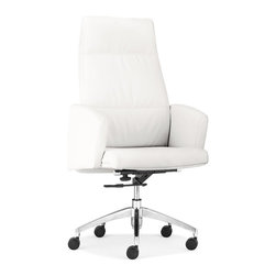 Zuo Modern - Zuo Modern Chieftain Modern High Back Office Chair X-180602 - Imposing on its rolling steel frame, the Chieftain Office Chair will take you to the top. Go with the black for power or white for elegance. Comes with a high or low back.