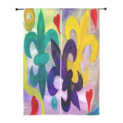 xmarc - Fleur De Lis Curtains, Mardi Gras Fleur De Lis - The windows have it with these sheer, decorative curtains. Romantic and flowing, these elegant chiffon window treatments finish a room with the perfect statement