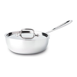 All-Clad Stainless Steel 2 Qt. Saucier With Lid - More shallow than a classic sauce pan  the All-Clad 2 qt. saucier is designed for foods requiring frequent stirring or whisking  including creamy sauces  risotto  polenta and custards. The pan's wider mouth allows for sauce reduction  while its curved sides allow for easy incorporation of ingredients.  Product Features      Premium tri-ply construction delivers even heat distribution   Interior starburst finishing provides superior stick resistance   Engraved capacity marking on the bottom of the pan   Long stick handle stays cool on the cooktop   18/10 stainless steel cooking surface will not react with food
