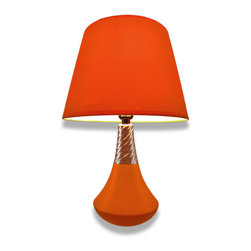 Zeckos - Retro Genie Bottle Style Orange Ceramic Table Lamp - This cool vintage style orange table lamp has a retro genie bottle style straight out of the 1970s. It's a mid-size lamp that's perfect for lighting up a smaller space such as an office, bedroom or dorm room, and blends with multiple decor styles. Perfect for those that want just a pop of color. This smooth lined lamp has a polished chrome plated accent that gives it that groovy character. It stands 17 inches high with an 11 inch diameter shade. The base is 5.5 inches in diameter and made of ceramic that has been hand painted with a smooth glossy finish. The colorful orange fabric shade is backed with a PVC film. This lamp has a 4.5 foot long brown cord, and uses one type A 40w bulb (not included). Let this lamp shine in the limelight while lighting your favorite reading spot, or add just an accent of retro glow.