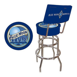 Trademark Global - Padded Bar Stool w Backrest & Blue Moon Logo - This Blue Moon bar stool has got your back. Comfortable, retro-styled stool is a great addition to your dining area, home bar and elsewhere. Curved metal legs are finished with sleek chrome. Padded vinyl seat has official logo of the beloved Belgian style ale. Adjustable levelers. Backrest for added comfort . Long lasting officially licensed logo. Great for gifts and recreation decor. 7.50 in. High padded seat. 30 in. High bar stool great for bar pub table and bars (40 in. tall with backrest). Commercial grade vinyl seat. Chrome plated double rung base. 14.75 in. W x 14.75 in. D x 40 in. H (25 lbs.)This Blue Moon Bar Stool will be the highlight of your bar or game room. This is a very high quality stool with a beautiful, full-color logo printed on the padded seat. A backrest has been added for ultimate comfort.