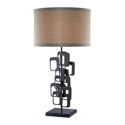 Dimond - Dimond Griffin Contemporary Table Lamp X-5312D - From the Griffin Collection, this Dimond contemporary table lamp features a classic drum shade made from a beautiful beige linen fabric. It has been paired with a retro-inspired base with rounded rectangular accents, all highlighted by a deep Matte Black finish.