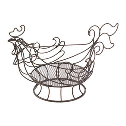 "Koehler Home Decor - Koehler Home Decor Country Rooster Basket - A delightful way to store and display a variety of decorative kitchen items. Curved copper-colored wire shapes an adorable rooster that supports a base of finer mesh. For decorative purposes only. Weight 0.5 lb. 12.5""x 6""x 7.25"" high. Iron.Weight 0.5 lb. Dimension:12.5""x 6""x 7.25"" Material:Iron."