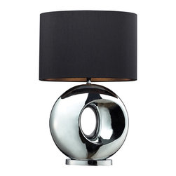 Dimond Lighting - Dimond Lighting D2236 Tobermore 1 Light Table Lamps in Chrome - Tobermore Ceramic Table Lamp In A Chrome Finish With A Black Faux Silk Shade And Silver Foil Liner
