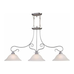 Livex Lighting - Coronado Nickel Three-Light Island Pendant - -White alabaster glass  -Includes two 3? sections of chain and 12? of wire Livex Lighting - 6108-91
