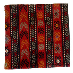 Hand woven import from turkey. - Traditional red Kilim pillow cover in 20X20 - This Kilim Pillow cover displays a traditional Turkish pattern for those who are looking for collectible items.  please view our other photos, we have several if you are looking for a classic look to decorate.  Pillow insert not included.