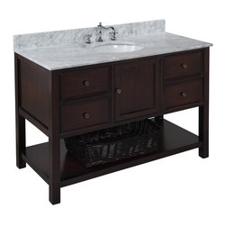 Kitchen Bath Collection - New Yorker 48-in Bath Vanity (Carrara/Chocolate) - This bathroom vanity set by Kitchen Bath Collection includes a chocolate cabinet with soft close drawers, Italian Carrara marble countertop, single undermount ceramic sink, pop-up drain, and P-trap. Order now and we will include the pictured three-hole faucet and a matching backsplash as a free gift! All vanities come fully assembled by the manufacturer, with countertop & sink pre-installed.