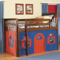 Bolton Furniture - Mission Low Twin Loft Bed w Blue-Red Bottom Curtain in Cherry Finish - Includes twin headboard & footboard, birch side rail set, low loft kit and Blue & Red bottom curtains in front and two ends. Twin size bed. Cherry Stain finish. Assembly required. 1-Year warranty. Weight limit: 200 lbs.. 43 in. W x 79 in. D x 63 in. H. Low Loft Assembly Instructions. Curtains Assembly Instructions. Bunk Bed Warning. Please read before purchase.. NOTE: ivgStores DOES NOT offer assembly on loft beds or bunk beds.