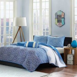 Mizone - Mizone Paz Coverlet Set - Update your space to a modern look with the Mizone Paz Coverlet Set. This beautiful ombre effect is used to take the medallion motif from a dark blue at the bottom to a very soft blue at the top of the coverlet. The sham shares the same design but is all one medium blue shade. Made from polyester microfiber, this quilt features cotton fill and a solid reverse. One oblong decorative pillow completes this collection. Coverlet/Sham: 100% polyester 85 gram micro fiber printed fabric, micro fiber solid reverse Filling: 200g cotton fill