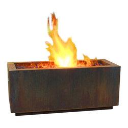 "Home Infatuation - Rectangular Weathering Steel Fire Pit, Wood Burning with/Propane Gas - This handcrafted outdoor fire pit is constructed entirely of 11 gauge Cor-Ten steel. Commonly called ""weathering steel"" it will develop a beautifully brown layer of rust when exposed to the weather."