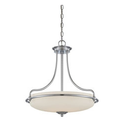 Quoizel - Quoizel GF2821C Griffin Transitional Inverted Pendant Light - This understated style provides a stylish, soft modern look for most any room.  The etched shade is painted white inside, diffusing the light evenly and illuminating your home with a soothing glow.  It is held in place by softly curved arms and is available in three finishes: Antique Nickel, Polished Chrome and Palladian Bronze