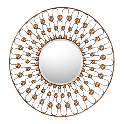 "Sterling Industries - Metal Framed Mirror Gold With Bronze Antique Finish - A mirror with leading lines always pulls your attention toward the center.  The stunning 36"" in diameter the frame is formed from wire and metal cups painted in dark gold finish with bronze accenting. The mirror is beveled and 15"" diameter."