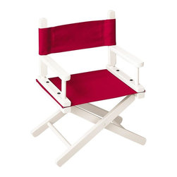 Gold Medal Chairs - 10 in. Child's Director's Chair w White Frame & Red Canvas - White Frame with Red Canvas. Kid friendly pinch-free design. Canvas back with extra flap. Washable seat and back. Hardwood construction. Age group: 2 - 5 years. Made in USA. Minimal assembly required. 10 in. W x 8 in. D x 10 in. H (6 lbs.)The gold medal child's chair is an excellent choice for your favorite little actor, actress and director. An extra flap on the canvas back makes embroidery easy and doubles as a pocket for craft supplies.
