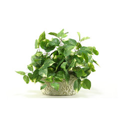 D&W Silks - D&W Silks Pothos in Oblong Ceramic Planter - Bright green leaves of pothos ivy are rested in a decorative ceramic planter, to bring together a piece that adds just the right amount of color to any home or office. Lightly fluff out the ivy to create a life-like accent that requires no care or maintenance. Comes assembled as pictured and will maintain its color and shape for years to come.