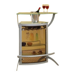 Coaster - Bar Unit (Silver) By Coaster - This is a contemporary metal home bar will bring your party to life. The bar features a durable metal frame with a tempered frosted glass top and tinted plastic front. The bar also has storage for stemware and two storage shelves. This item will make a great addition to your home. This item is usually in stock and ships at no additional charge, brought to you by efurnitureshowroom.com!Dimensions:Bar Table (Coaster 100135) 43x24x8