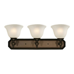 Z-Lite - Z-Lite Clayton Bathroom Light X-V3-409 - Give your home a touch of stately elegance with the classic Clayton lighting family. The simple detailing and clean lines of this three light vanity fixture is finished in bronze with antique ivory glass shades.