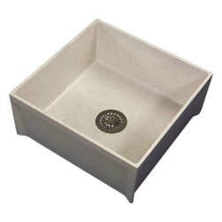 "ZURN - ZURN  MOP BASIN - | Molded high density composite basin, PVC drain body, stainless steel dome strainer/lint basket, and 3 gasketed outlet connection | Overall dimensions: 24"" x 24"" x 10"" deep 