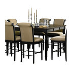 Coaster - Coaster Cabrillo Square/Rectangular Counter Height Dining Table in Deep Black - Coaster - Dining Tables - 101828