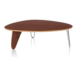 Herman Miller - Herman Miller Noguchi Rudder Table - An updated archival piece from 1949, this sculptural and deceptively simple coffee table by Isamu Noguchi stands on two chrome hairpin legs and one in wood reminiscent of a ship's rudder. Graceful and visually light, it is available in walnut, ebony, or white ash finish options.