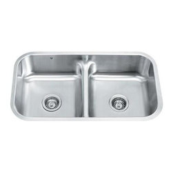 Vigo Industries - Equal Double Bowl Stainless Steel Undermount Kitchen Sink - 15 degree radius corners, satin finish and seamless construction make this stylish 18 gauge stainless steel sink the perfect addition to your kitchen decor.