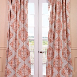 EFF - Henna Blackout Curtain Panel - This Henna curtain panel features a blackout design with a lovely beige/burnt orange pattern. The fabric is soft with a refined texture made with a special polyester yarn and these curtains keep the light out while providing optimal thermal insulation.