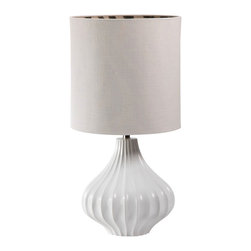Ribbed White Table Lamp - Elegance is often found in simplicity - a soft curve, just the right amount of detail or the feeling a piece brings to a space. The Ribbed White Lamp brings a feeling of elegance and serenity to your sanctuary. The soothing absence of color reminds one of the mid day clouds. Ideal for the bedroom and perfect for a living room with its naturally textured shade and lovely shape...bring this into a room that needs just the right finishing touch.