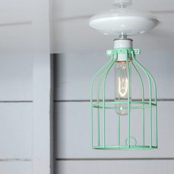 Cage Light - Mint Green - Ceiling Mount - Industrial Light Electric