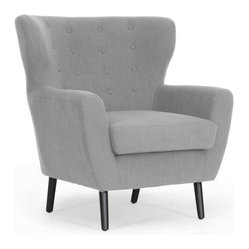 Baxton Studio - Baxton Studio Lombardi Light Grey Linen Modern Club Chair - A scooped back, button tufting and a generous fit. Add it all up and you get this handsome midcentury modern armchair. All dressed in light grey linen, this generous chair is wide enough for parent and tot reading time or sitting in the Lotus position for your daily Om.
