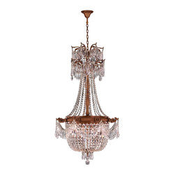 """Worldwide Lighting - Winchester 4 Light French Gold Finish & Clear Crystal Chandelier 24"""" x 40"""" Large - This stunning 4-light Chandelier only uses the best quality material and workmanship ensuring a beautiful heirloom quality piece. Featuring a cast aluminum base in French Gold finish and all over clear crystal embellishments made of finely cut premium grade 30% full lead crystal, this chandelier will give any room sparkle and glamour. Worldwide Lighting Corporation is a privately owned manufacturer of high quality crystal chandeliers, pendants, surface mounts, sconces and custom decorative lighting products for the residential, hospitality and commercial building markets. Our high quality crystals meet all standards of perfection, possessing lead oxide of 30% that is above industry standards and can be seen in prestigious homes, hotels, restaurants, casinos, and churches across the country. Our mission is to enhance your lighting needs with exceptional quality fixtures at a reasonable price."""