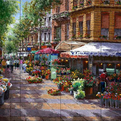 The Tile Mural Store (USA) - Tile Mural - Flower Market Barcelona - Kitchen Backsplash Ideas - This beautiful artwork by Sam Park has been digitally reproduced for tiles and depicts a Spanish flower market.  This street scene tile mural would be perfect as part of your kitchen backsplash tile project or your tub and shower surround bathroom tile project. Street scenes images on tiles add a unique element to your tiling project and are a great kitchen backsplash idea. Use a street scene tile mural, perhaps a Tuscan theme tile mural, for a wall tile project in any room in your home where you want to add interesting wall tile.