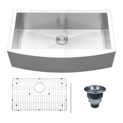 "Ruvati - Ruvati RVH9300 Apron Front 16 Gauge 36"" Kitchen Sink Single Bowl - Elegant, apron-front farmhouse kitchen sinks are a bold addition to any kitchen. Deep, rectangular bowls with bottom drain grooves and a curved apron front define the Verona series."