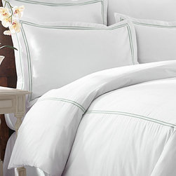 Colonial Home Textiles - Jade & White Three-Piece Double Marrow Duvet Set - Drift off to dreamland with this classy set that features supersoft cotton for supportive comfort and double marrow construction for added durability and style.   Includes duvet and two shams 55% cotton / 45% polyester 600-thread count Machine wash Imported