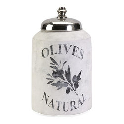 IMAX Worldwide Home - Small Olive Jar with Nickel Lid - This small decorative lidded jar is made from terracotta and features an antiqued white finish and olive branch graphic.. Material: 95% Terracotta, 5% Stainless Steel. 16.75 in. H x 10 in. W x 10 in. (14 lbs)