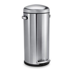 Simplehuman - simplehuman 30-Liter Retro Round Step Trash Can - The efficient round shape of this simplehuman trash step can with a retro look is ideal for high traffic areas and will add character to any kitchen.