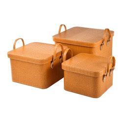 "Traders and Company - Faux Crocodile Skin Square Coach/Hat Boxes, Set of 3 - Lg = 13.5""Lx13.5""Wx8.75""H - European-inspired faux crocodile skin trunks, trays, boxes and carry-alls. Reminiscient of early 20th century railway fashion; bright and classic looking pieces warm and enliven a space while providing functional storage and stylish display. Alternate shapes & styles sold separately. Dimensions: Lg = 13.5""Lx13.5""Wx8.75""H, Md = 11.5""Lx11.5""Wx7.25""H, Sm = 10""Lx10""Wx6.25""H"