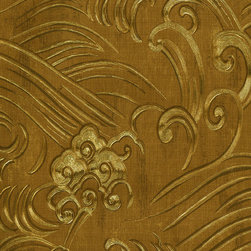 Chinoiserie Waves Wallpaper in Gold Foil by Brewster - Pattern number: 17665510