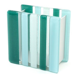 Gedy - Light Blue or Green Glass/Aluminum Toothbrush Holder, Light Blue - Modern style square green or light blue and white countertop toothbrush holder or tumbler.
