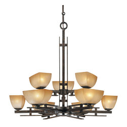 Minka Lavery - Minka Lavery ML 1277 9 Light 2 Tier Chandelier Linear Collection - Nine Light Two Tier Chandelier from the Linear CollectionFeatures:
