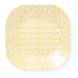 Q Squared NYC - Montecito Yellow Salad Plate - Transport your dining table to historical Montecito with the beautiful, vibrant colors of this collection, inspired by the intricate tiles and textures of the romantic city.