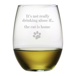 Susquehanna Glass - The Cat Is Home Stemless Wine Glass, 21oz, S/4 - Each 21 ounce stemless tumbler is sand etched with a playful cat-themed design. Dishwasher safe. Sold as a set of four. Made and decorated in the USA.
