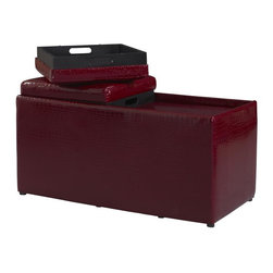 Linon - Windsor Storage Ottoman with Trays - Offers ample interior storage space. Fully Assembled. Red PVC Croc. 36 in. W x 16.93 in. D x 18.5 in. H (50.04 lbs)The Red Croco BOGO Ottoman offers storage and functionality for any room in your home. The large ottoman has ample interior space for storing a multitude of items. The top flips, offering a cushioned side for seating and a tray side for storage/display. Nested inside, a smaller ottoman lifts out to offer additional storage space. The red PVC croc upholstery adds bold appeal and eye catching drama. Perfect for placing in an entry, hall, living space or at the foot of a bed.