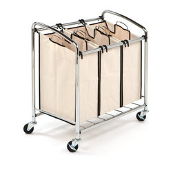 Seville Classics - Seville Classics Chrome 3-bag Slanted Handle Laundry Sorter - Conveniently wheeled with an easy-access angled top,the Seville Classics Chrome 3-bag Slanted Handle Laundry Sorter easily keeps different laundry types separate. A wire grid at the bottom adds support,preventing sagging.