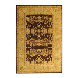 Safavieh - Bergama Brown/Green Area Rug BRG190B - 8' x 10' - The Bergama Collection includes beautiful reproductions which are hand-tufted to create the same symmetrical knots used in the antique rugs in Safavieh's private archival collection of Peshawar rugs. Made in India, the pure wool rugs in this collection recreate the design and quality of Peshawars made for the top end of the market to a broader base of customers with superior hand tufted quality.