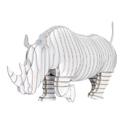 Cardboard Safari - Rambling Robbie Full Body Rhino, White, Medium - Cardboard Safari is excited to introduce Rambling Robbie, our first full-body animal model. Modeled after the White Rhino, Rambling Robbie is the world's largest mammal after elephants. This species of Rhino are currently in crisis with only about 17,480 remaining.