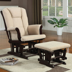 Coaster - 650011 Glider With Ottoman - Beige - Glider wrapped in a beige microfiber with cappuccino finished base. Matching ottoman included