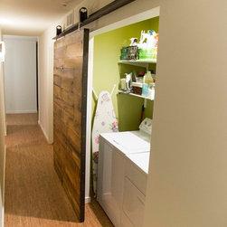 Sliding Barn Door - (2) Reclaimed Tobacco Barn Brown Barn Doors - -Laundry Room / Hallway *Angled View* / Door Open-