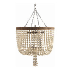 Arteriors - Viola Chandelier - Give your room the flourish of a beaded chandelier without all the fancy sparkle. This chandelier's graceful swag of antiqued ivory crackle beads has plenty of eclectic charm, while its neutral color and matte texture give it a soothing, natural feel. That crackle finish would look fantastic with French-inspired styles, but this versatile piece will be at home in almost any soft, warm space.