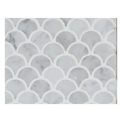 Mission Stone Tile - Mini Curve Appeal - Bianco Carrara Polished - Fan Shaped Mosaic, 1 Square Foot - Sold by the square foot